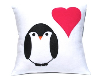 Penguin Love Pillow Cover appliquéd Eco-Felt Pink Heart 18 inches