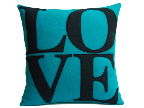 Turquoise and Navy Love Pillow Cover Appliqued Eco-Felt - 18 inches