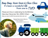 Custom Photo Transportation Birthday Party Invitation TRAINS PLANES AUTOMOBILE Truck Motorcycle Bus Boat
