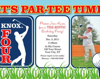 Personalized Golf Birthday Party Photo Invitation Design