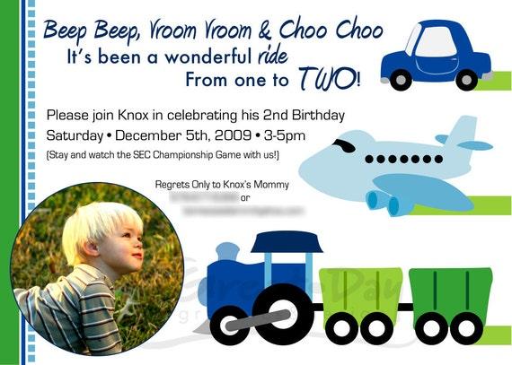 Custom Photo Transportation Birthday Party Invitation TRAINS PLANES AUTOMOBILE Truck Motorcycle Bus Boat