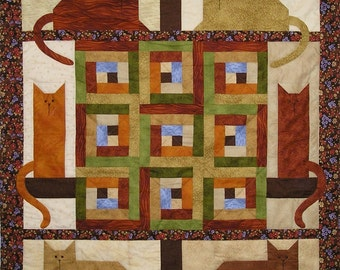 Cats in the Cabin Quilt Pattern With Free Buttons & Free Shipping Included