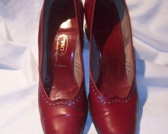 1940's Red Leather Vintage Shoes