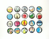 20 Loteria Buttons / Badges - Choose Any 20 - Set of twenty Pinback Buttons / Badges - Mexican Bingo Images  - Party Favors