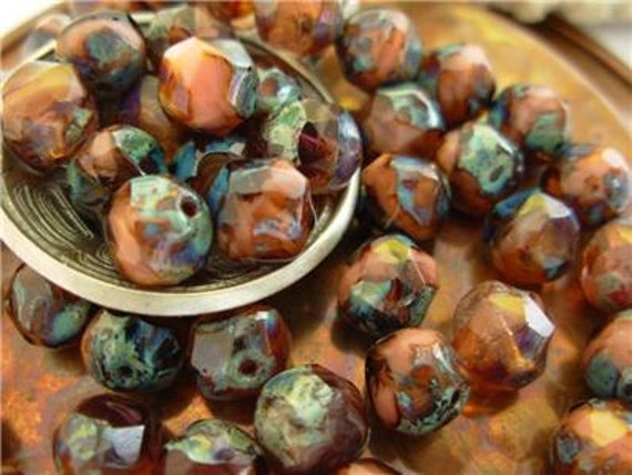 8mm Fire Polished Baroque Beads- Pink/ Purple Picasso (24)