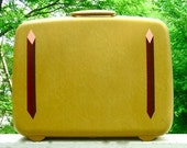 Vintage Mustard Yellow Samsonite Suitcase Upcycled With Handpainted Detail