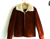 Rust Corduroy Jacket with Shearling Lining Womens Small  - Vintage 1970s