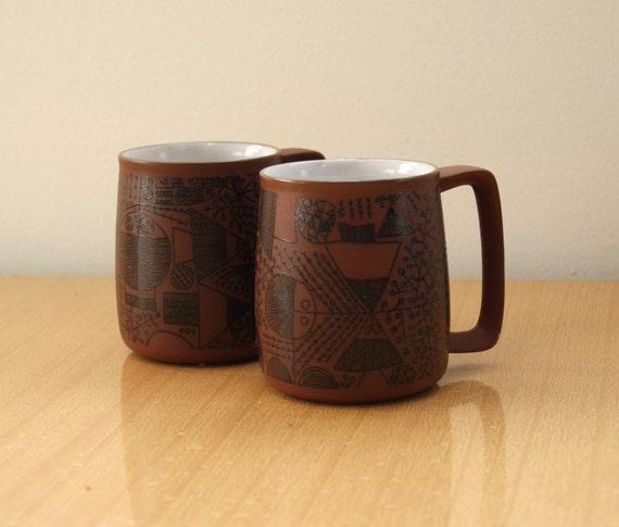 Mid Century Rounded Stoneware Mugs