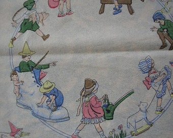 Two 1920's Dennison Children's Fairy Tale Crepe Paper Napkins Placemats