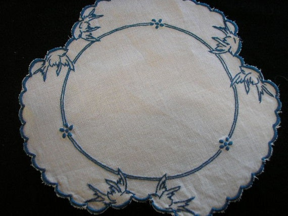 Vintage Cutwork Linen Bluebird Cloth from 1930's