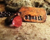 Shakti - Hand Stamped Copper Necklace with Jasper and Cherry Quartz