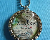 """The """"HOME is where the HEART is"""" necklace...... Keep a little piece of ALASKA close at heart with this bottle cap pendant necklace"""
