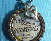 """VENEZUELA jewelry...The """"HOME is where the HEART is"""" bottle cap necklace.... Keep a little piece of Venezuela close at heart"""