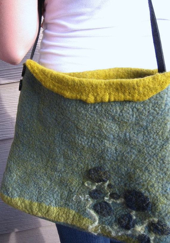 Fields of Green  Felted Tote