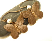 Earrings - Butterfly and Pearl - Vintage Patina - Antiqued Brass