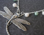 Dragonfly Necklace - Antiqued Sterling Silver with Swarovski Pearls - Green - White