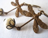 Little Dragonfly Earrings with Swarovski Pearls - Vintage Patina Antiqued Brass - White