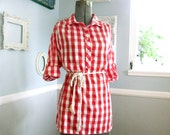 Vintage 1950s Red and White Checked Blouse - Adorable Picnic Pattern 50s - Size Large