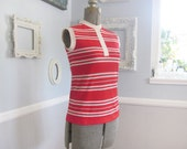 Mod 60s Striped Top // Red and White Sleeveless Shirt // 1960s Size Small