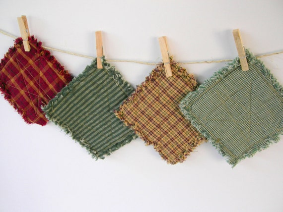 Star Quilted Rustic Coasters - set of 4