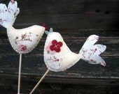 Birds Wedding Cake Toppers Wool Felt and Fabric - Raspberries and Cream Set of 2 - Last Pair