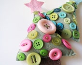 Wool Felt Christmas Tree Ornament - Pink Button