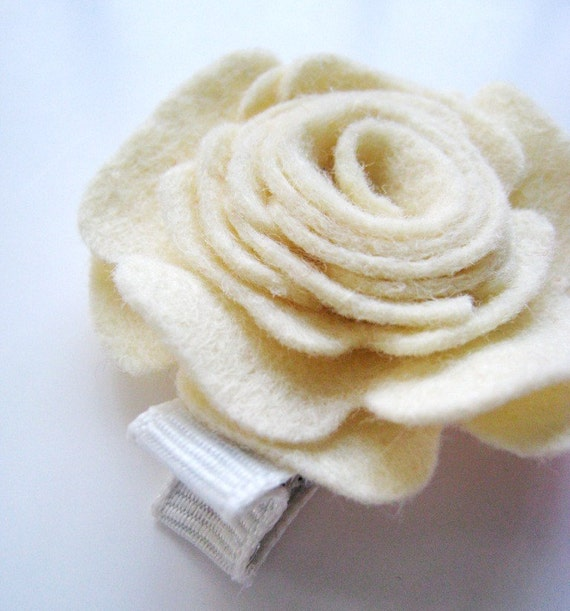 Wool Felt Rose Hair Clip Barrette ANY COLOR