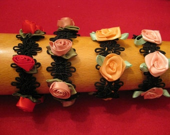 Fabric jewelry bracelet with ribbon roses
