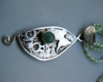 Sterling silver Pendant abstract with adventurine cabachon and glass and stone beads