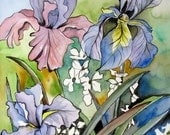 Iris Watercolor Painting Purple Irises Original Flower Artwork, 11x15