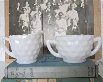 Vintage Milk Glass Sugar and Creamer Set, White Milk Glass Sugar Bowl and Cream Pitcher