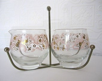 Vintage Libbey Pink and Gold Sugar and Creamer Set with Caddy, Mid Century Modern Glass