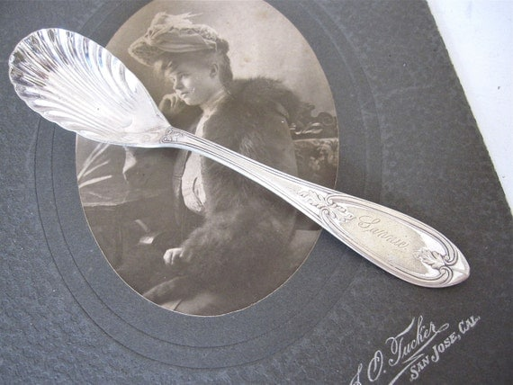 Antique Sugar Spoon Engraved FANNIE, Olive, 1848, Pattern by Rogers & Bros. Silverplate