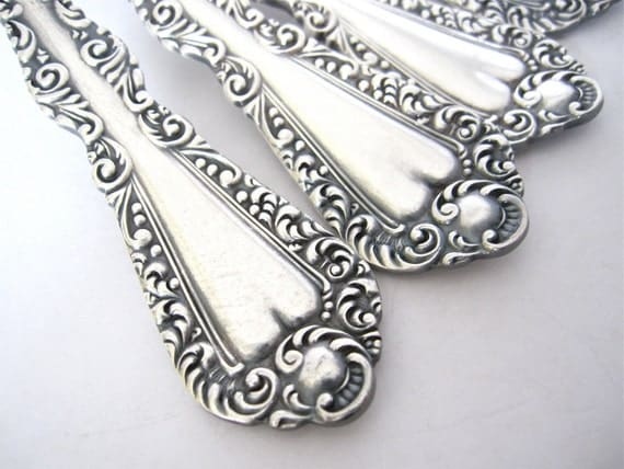 Antique Victorian Place Spoons Plymouth 1897 Pattern by Rogers, Set of 6 Silverplate