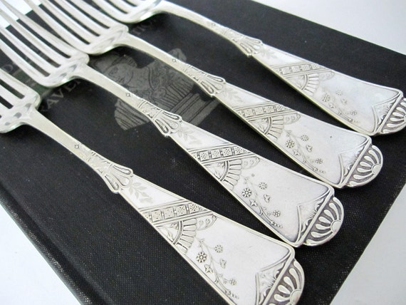 Antique Victorian Forks, Harvard 1883 Pattern by Derby Silver Co, Set of 4 SIlverplate