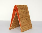 Vegan Wallet - Cork Fabric with Burnt Orange Interior