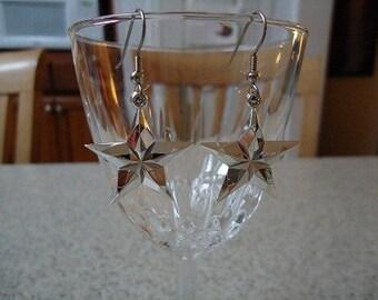 Silver Plastic Star Dangle Earrings