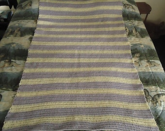 Aran and Lilac Hand Crocheted Stripes Afghan, Blanket, Throw - Home Decor