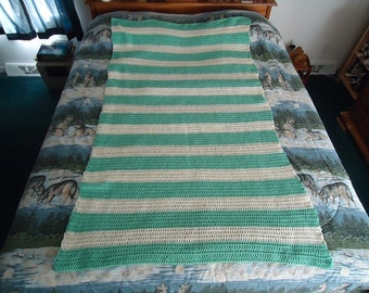 Soft Sage Green and Aran Hand Crocheted Stripes Afghan- Blanket - Throw - Home Decor