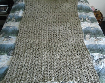 Taupe Hand Crocheted Shells Afghan, Blanket, Throw - Home Decor