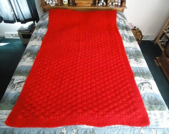 Cherry Red Hand Knitted Basketweave Afghan,  Blanket,  Throw - Home Decor