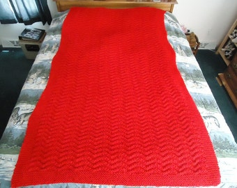 Cherry Red Hand Knitted Chevron Afghan, Blanket, Throw  - Home Decor - Free Shipping