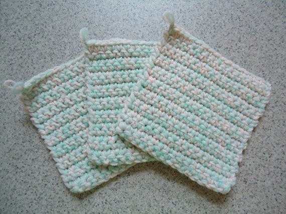 Set of 3 Mint Green and Pale Peach Hand Crocheted Potholders - Kitchen Decor