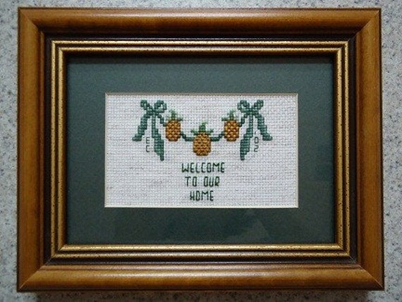 Welcome to Our Home - Cross Stitch Picture - Home Decor - Wall Decor