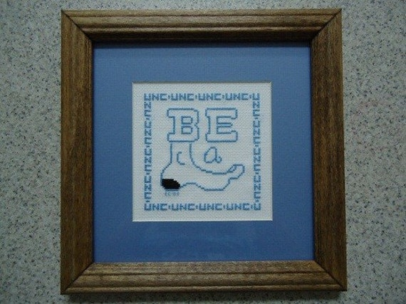 UNC Be a Tarheel - Cross Stitch Picture - Home Decor