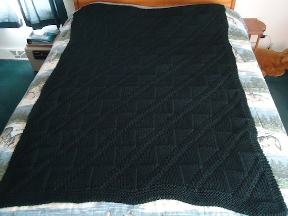 Black Hand Knitted Diagonals and Triangles Afghan, Blanket, Throw - Home Decor - Free Shipping