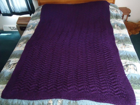 Deep Violet Hand Knitted Chevron Afghan