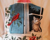Upcycled Tea Towel handmade Tote Bag   Red Cardinal and Kitty Cat