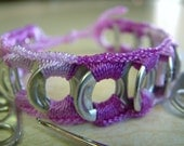 ReCycladelic Upcycled Pop Tab Bracelet Pixie Dust in Variegated Purple Soda Can Pop Top Jewelry PRIORITY MAIL SHIPPING