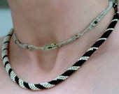 Wedding Jewelry, Bead Crochet Necklace, Silver Spiral in Black Platinum Silver, Bridal Necklace